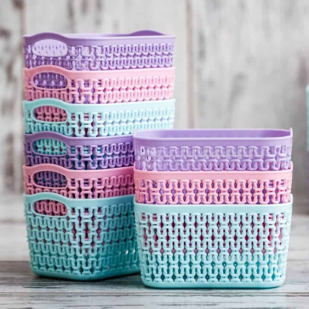 pastel plastic organizing baskets