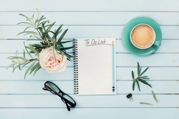 to do plan, cup of coffee, and a pink flower on a light blue background