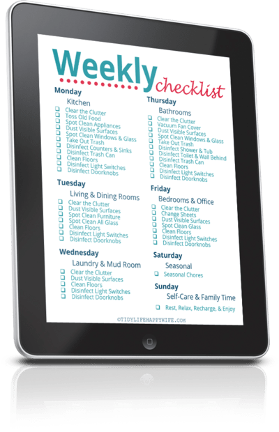 weekly cleaning checklist on a tablet